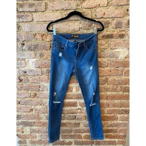 Wax Jean Butt I Love You Distressed Skinny Jeans